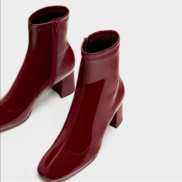 e85da78f8b62 Burgundy Patent Zara Booties